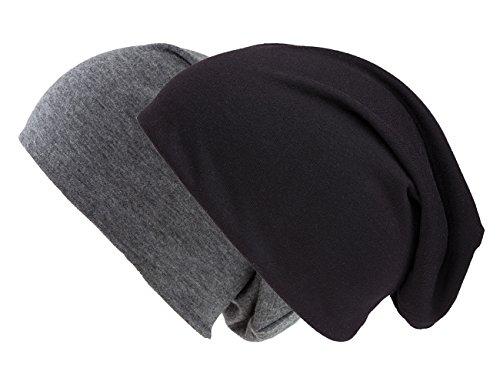 shenky - Gorro caído - Ligero y Fino - Ideal para Verano - XXL - Pack Doble Azul Oscuro/carbón y Negro - Extralargo