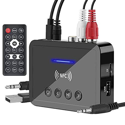 Adaptateur Bluetooth Jack 3-en-1 Emetteur Recepteur Bluetooth Transmetteur FM RCA Optique 3,5mm AUX USB pour TV/PC/Voiture HiFi Audio