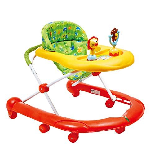HUYP Baby Walker Activity Center Safety Girl Walker Chair Ragazzi Camminatore per Bambini Pieghevole 7-18 Mesi (Color : Red)