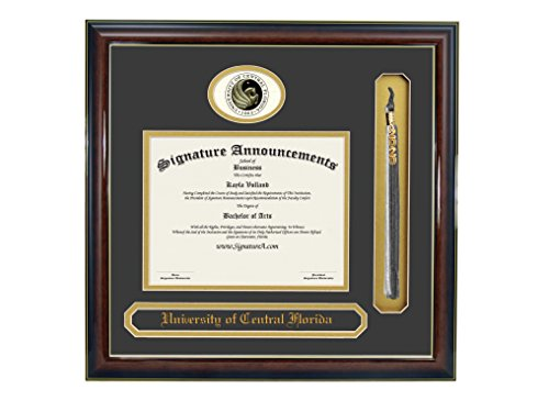 Signature Announcements University of Central Florida (UCF) Graduate Graduation Diploma Frame with Sculpted Foil Seal, Name & Tassel (Gloss Mahogany w/Gold Accent, 20 x 20)