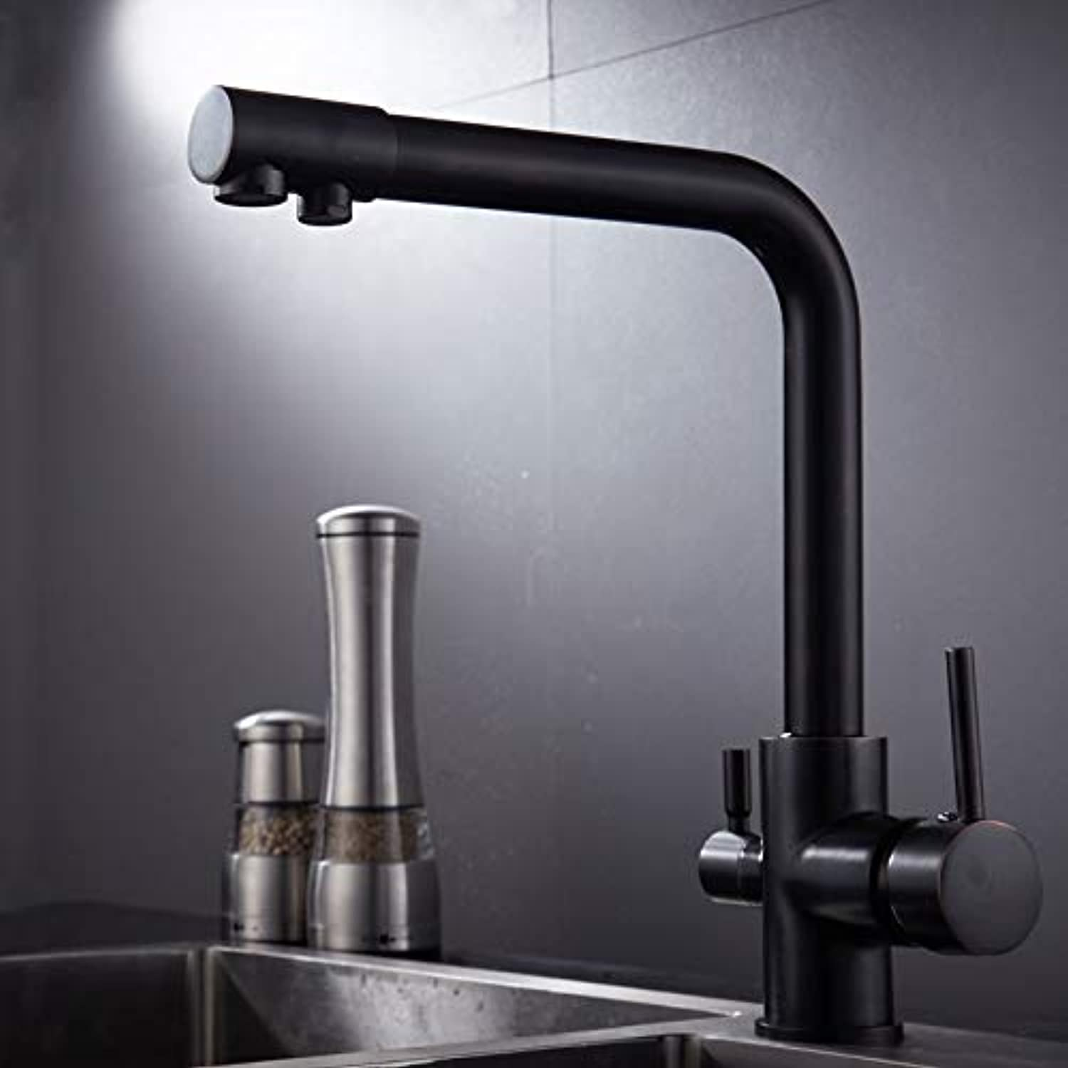 redOOY Faucet Taps Household Three-In-One Copper Kitchen Pure Water Straight Drink Faucet Sink Sink Hot And Cold Water, Round Body Black