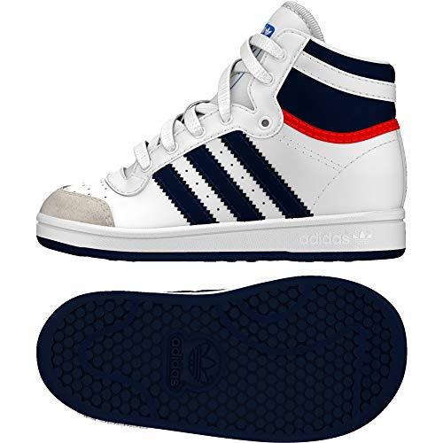 adidas Top Ten Hi, Basket Garçon Unisex Kinder, Blanc/Bleu/Rouge, 21 EU