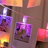 PENG Tarjeta LED Imagen Foto Clips Clavijas Cadena de luz Brillante Fiesta de Bodas Decoración del día de San Valentín, RGB, 3 Metros 20Led