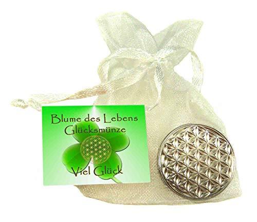 EnerChrom Blume des Lebens Glücksmünze Viel Glück - 1 Stück Farbe Silber - Glücksbringer Lebensblume Talisman Münze