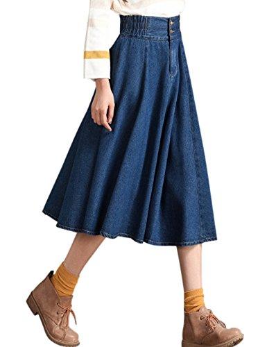 Tanming Women's Casual Vintage Elastic Waist Flared Pleated Midi Denim Jean Skirt (Large, Blue)