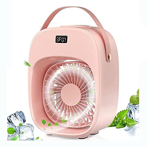 XJYDS Raffreddatore d'aria portatile, con luce display LCD, ventilatore ad angolo regolabile USB ricaricabile, ventola a 3 velocità che nebulizzatore, per lavoro domestico per ufficio all'aperto, rosa