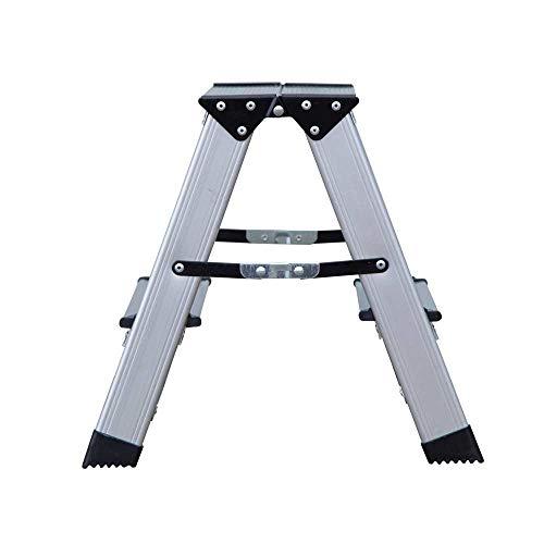 BENSON Alu Trittleiter mit 2 Stufen, Klapptritt, Klappleiter, Aluminum-Leiter, Tritthocker Fußbank, Klappbar - belastbar bis 150 kg, Silber, (2 x 2 Stufen)