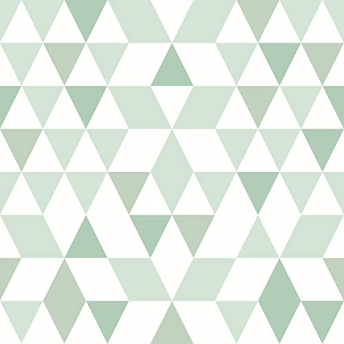 AMAZING WALL Green Triangle Peel and Stick Self Adhesive Wallpaper,15.7x198inch