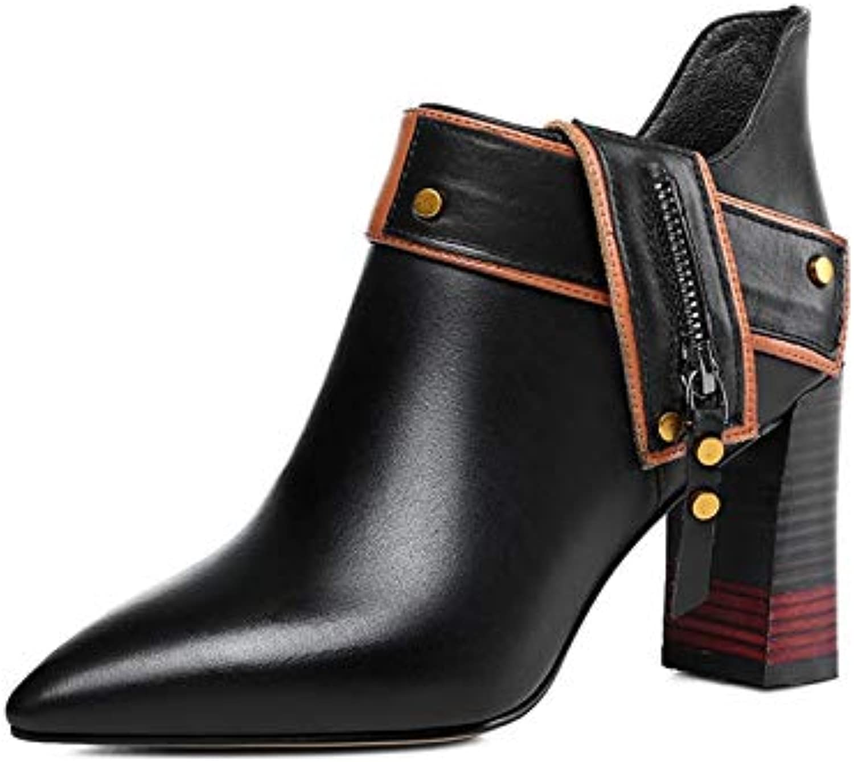 MENGLTX High Heels Sandalen Mode Frauen Stiefeletten Echtes Leder Herbst Winter Warme Spitz Elegante High Heels Schuhe Qualitt Grundlegende Stiefel