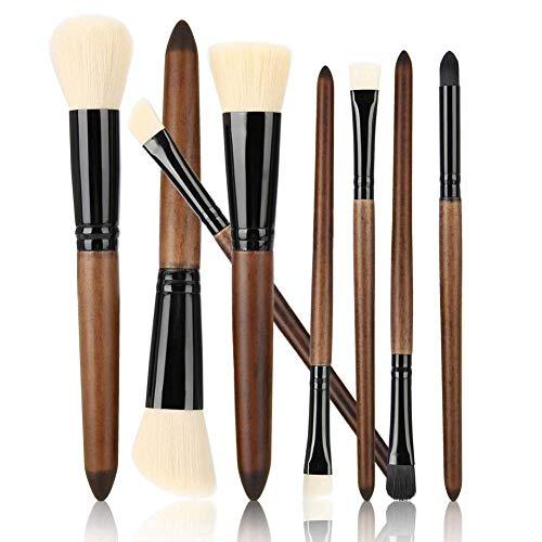 Pinceaux de maquillage 8pcs, imitation bois de santal cosmétiques pinceau de maquillage ensemble pinceau de maquillage doux, manche en bois Premium Synthetic Foundation fard à paupières contour(blanc)