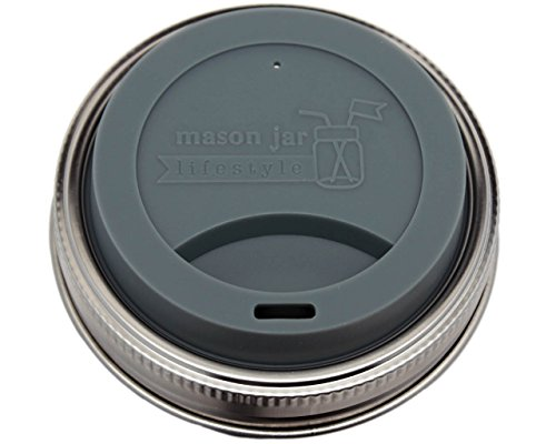 Silicone Drinking Lids with Rust Proof Stainless Steel Bands by Mason Jar Lifestyle (2 Pack, Charcoal Gray, Wide Mouth)