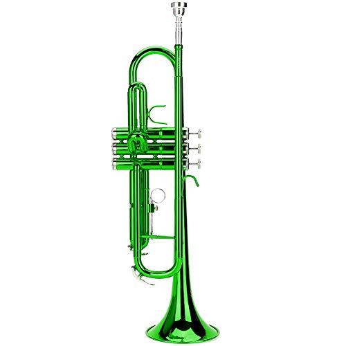 Blechbläser Trompete, Trompete flach Messing für Trompete Musik Blasinstrument In 3 verschiedenen Farben(green)