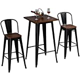 HOMCOM 3 Piece Bar Table Set with 1 Table, 2 High Back Chairs and Metal Frame with Footrests for Home, Black, and Brown