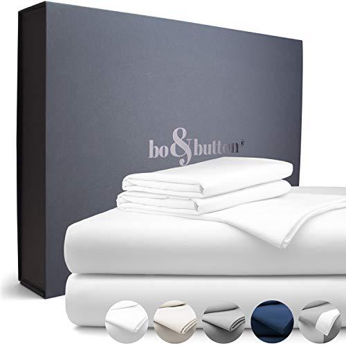 bo&button® Echte Luxusbettwäsche zum besten Preis   Bettwäsche Set, 3 teilig   Superweiches Mako Satin aus 100{5582471c135fdcf706d6ec1c5a137352e383d7a0821c60f84b3232ac74ca4bde} feinster Bio Baumwolle   Größe 240 x 220 + (2X) 40 x 80 cm, Farbe White/Weiß