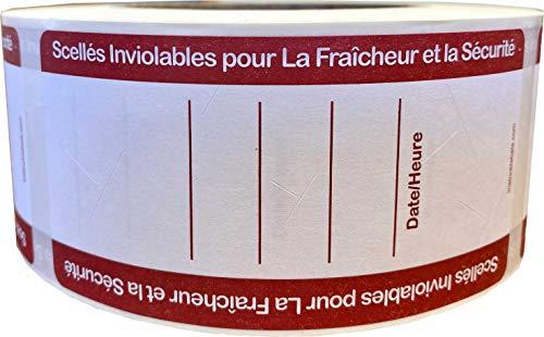 Matleverans Tamper tydlig skrivbar försluten för friskhet och säkerhetsetiketter med fransk text, 51 x 102 mm 2 x 4 tum rektangulära klistermärken, 500 pack