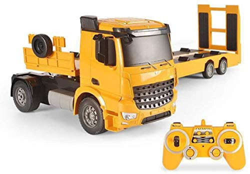 Regalo Control remoto Coche grande Camión de remolque de plataforma plana Coche RC Camión de transporte Gancho de coche de alta velocidad Excavadora de tracción Ingeniería Modelo de camión de bomberos