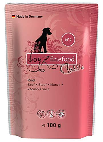 dogz finefood Hundefutter nass - N° 2 Rind - Feinkost Nassfutter für Hunde & Welpen - getreidefrei & zuckerfrei - hoher Fleischanteil, 12 x 100 g Beutel