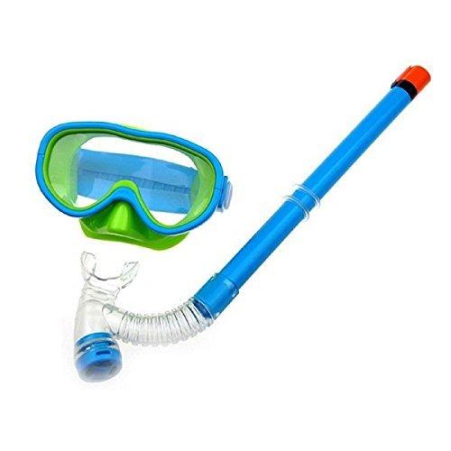 YITU Kids Silicone Scuba Swimming Swim Diving Mask Snorkel Glasses Set Anti Fog Goggles (Lake Blue)