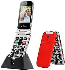 ODLICNO Teléfono Móvil para Personas Mayores Teclas Grandes para Mayores, SOS Botón, Cámara, con una Base de Carga-Rojo