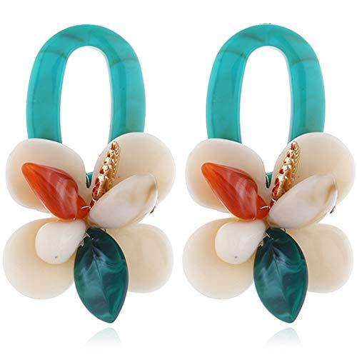 lijun acrílico Shell Coral Flor Resina Grandes Pendientes llamativos Mujeres joyería de Moda