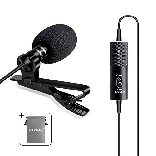 Lavalier Lapel Microphone E, Ubeesize Professional Clip on Omnidirectional Dual Condenser Lav Mic,Perfect for YouTube Recording/Interview/Video Conference/Podcast