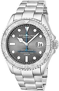 ساعة بمينا لون رمادي وسوار من الستانلس ستيل للرجال من ستيرلينج اوريجنال - 893.02