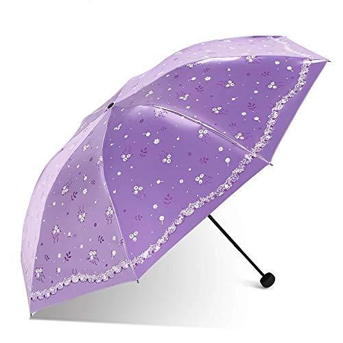 Reisen Folding Regenschirme Sonnenschirm UV-Schutz Regenschutzmaßnahmen Regen- und Regenkombination Regenschirm Leichter 7 Bone Origami-Regenschirm Damen Taschenschirm ( Color : Purple , Size : Free )