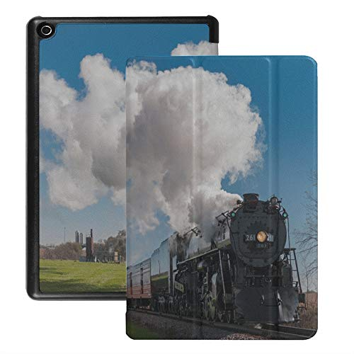 Case for Fire Tablet 8 Hd Retro Hot Gas Train Railroad Track Cover for Kindle Fire Hd 8 (2018 2017 2016 Release,8th/7th/6th Generation) with Auto Wake/Sleep