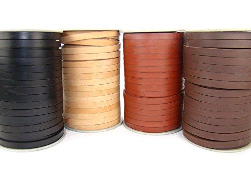 esnado Lederband Flach. 1 cm x 2,5 mm. Schwarz 1 m. - Länge/Farbe: wählbar