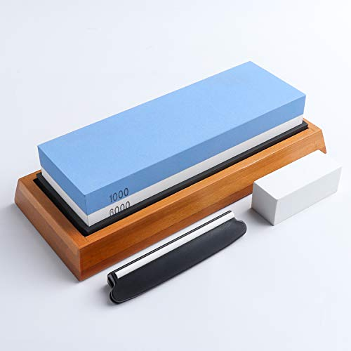 Whetstone Knife Sharpening Stone 2 Side 1000/6000 Grit Whetstone Sharpener Includes NonSlip Bamboo Base, Angle Guide, Polishing Tool for Kitchen, Hunting and Pocket Knives or Blades