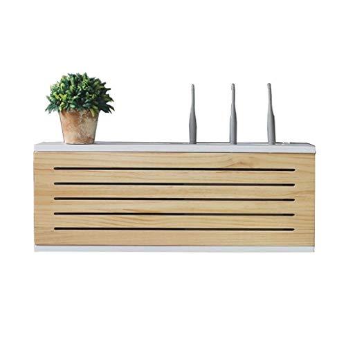 Caja de administración de cables, estante de pared de almacenamiento enrutador, decoración de la pared de la pared, caja de madera maciza conjunto de la pared TV montada en la pared TV de la fila infe
