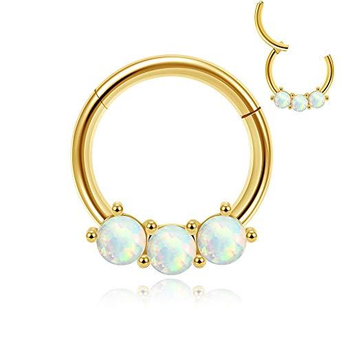JSDDE Chirurgenstahl Nasenring Clicker 16G Septum Segmentring mit Opal Creolen Hinged Ohrringe universal Piercing für Helix Tragus Knorpel Lippen Ohr Daith 8mm (Gold)