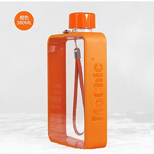 Personaliseerbare watermok met glasplaat van glas, creatieve fles, Koreaans, kleur fles: oranje, inhoud: 380 ml