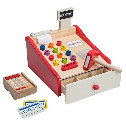 Jouéco 80038 Holz Kasse mit Scanner, Mehrfarbig