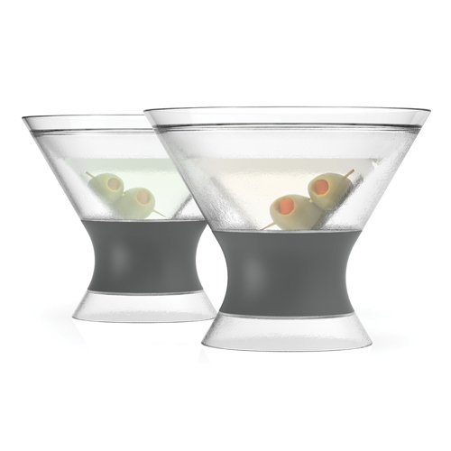 HOST Freeze Insulated Martini Cooling Cups Freezer Gel Chiller Double Wall Stemless Cocktail Glass, Set of 2, 9 oz, Grey