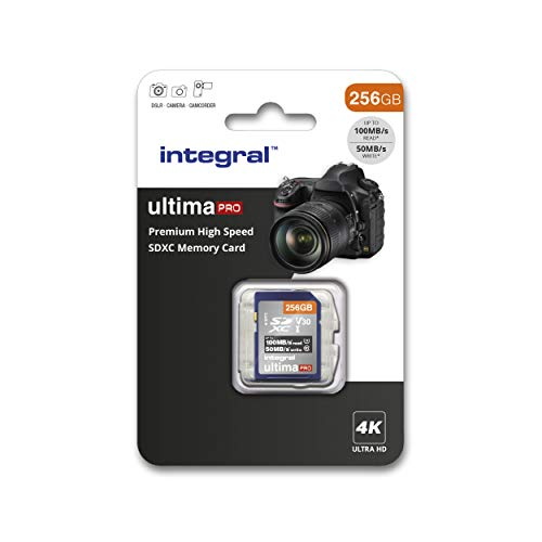 Integral - Tarjeta SD de 256 GB (4 K, Alta Velocidad, SDXC, hasta 100 MB/s, V30, UHS-I, U3) 256 GB. 256 GB