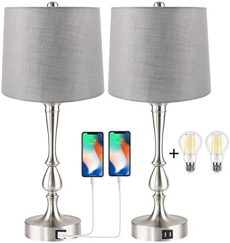 Set of 2 Touch Control Table Lamp with Dual USB Charging Ports Desk Lamps 3 Way Dimmable Modern product image
