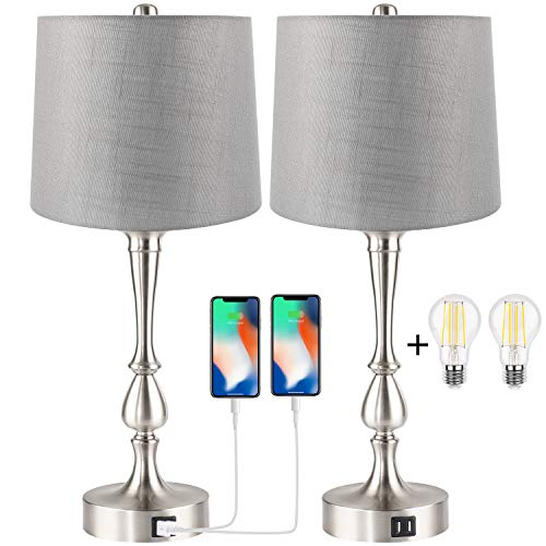 Set of 2 Touch Control Table Lamp with Dual USB Charging Ports Desk Lamps, 3-Way Dimmable Modern Nickel Finish Bedside Large Table Lamps for Living Room, Bedroom by PARTPHONER