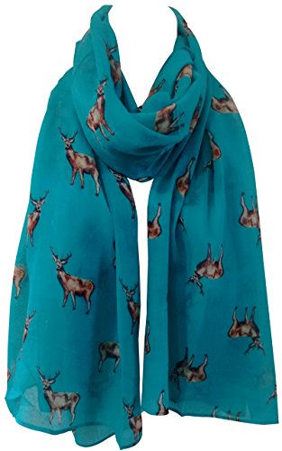 GlamLondon STAGS Print Scarf Big Deer Reindeer Stag Womens Party Gift Christmas Wrap (Green)