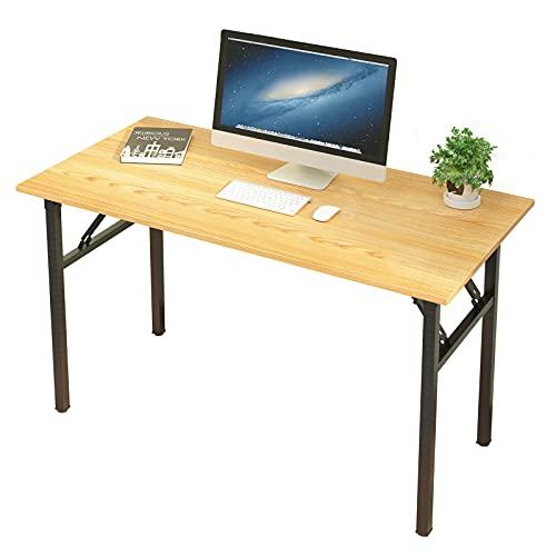 sogesfurniture Schreibtisch Klapptisch, 120x60cm Computertisch Bürotisch Konferenztisch Arbeitstisch PC Tisch Klappbar für Zuhause, Büro, Picknick, Garten, Teak&Schwarz BHEU-LP-AC5YB-120
