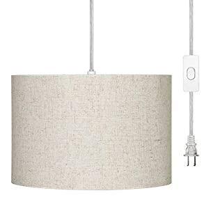 DEWENWILS Plug in Pendant Light, Hanging Light with 15ft Clear Cord, On/Off Switch, Beige Linen Shade, Hanging Light Fixture for Bedroom, Kitchen, Living Room, Dining Table