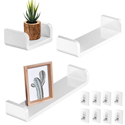 ZEETOON Set of 3 White Floating Shelves U Ledge Display Plastic Wall Shelf Stick On Damage Free Non-Drilling Removable Wall Decor for Home Living Room Kitchen Bathroom Indoor
