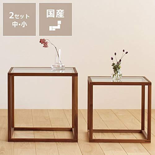 無垢材で作った ネストテーブル 中・小2点セット (北欧スタイル・木製)
