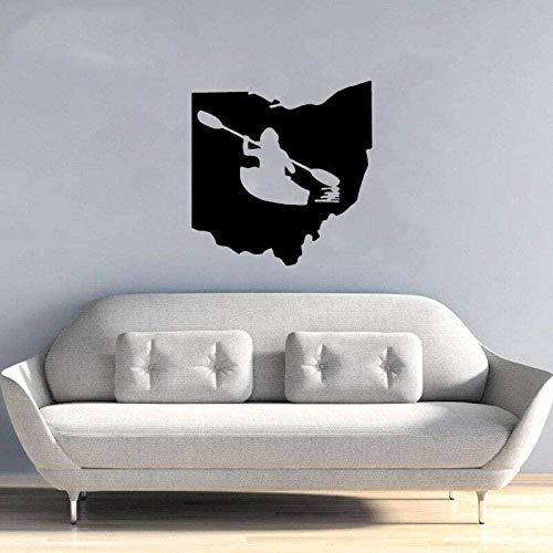 Pegatinas de pared,Barco de remos Tabla de surf Etiqueta de la pared Habitación de los niños PVC Sala de estar Dormitorio 59.7Cm * 58Cm