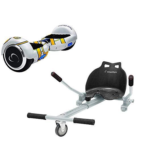 SMARTGYRO X2 Real Madrid + GO Pack Patinete Eléctrico + Kart, Certificado UL, Bluetooth, Batería de Litio, Cómodo, Unisex Niños, Blanco, Talla Única