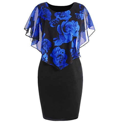 TWIFER Damen Casual Rose Print Chiffon O-Ausschnitt Rüschen Minikleid Große Größe (S-5XL) (Blau, L)