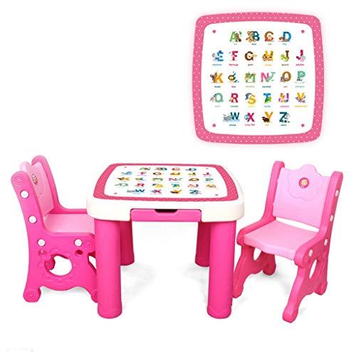 Table d'étude pour enfants Ensemble Table et chaises pour Enfants Bureau de Jeu pour Jouets Table d'étude en Plastique (Color : Pink-C)