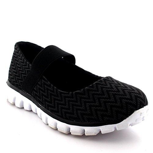 Mujer Corriendo Caminando Bajo Top Deportes Trabajo Zapatos Mary Jane Entrenadores - Negro/Blanco - UK6/EU39 - BS0058