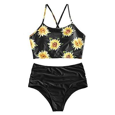 ZAFUL Women's Sunflower Tankini Set Adjustable Criss Cross Straps Bikini Ruched High Waisted Bathing Suit (Black, XXL)