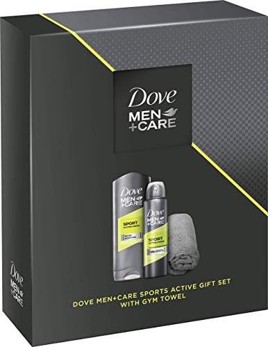 Dove Men+Care Geschenkset, ideal zum Verschenken Sport Active+Fresh Pflegedusche und Deospray mit schnelltrocknendem Mikrofaserhandtuch 2 Teile